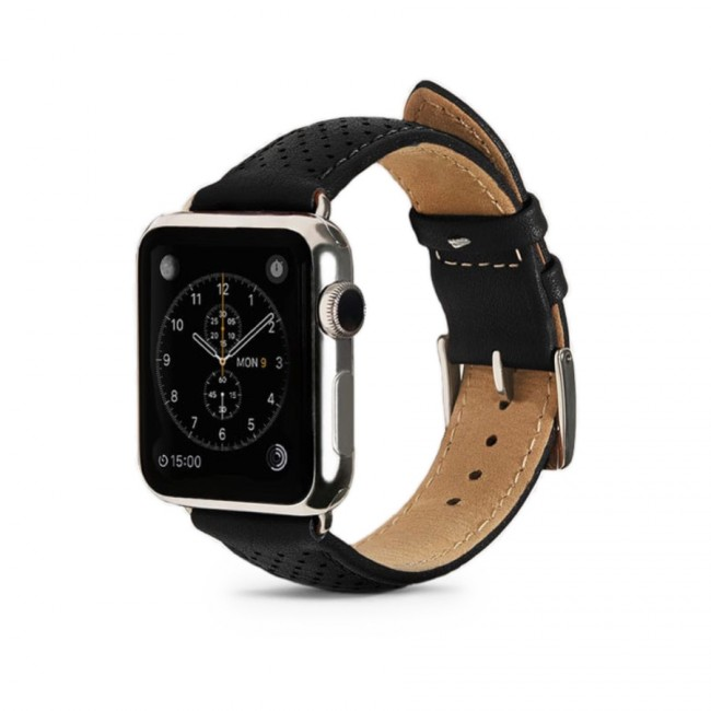 Monowear Black Perforated Leather Band pre Apple Watch - Silver Polished 42 mm