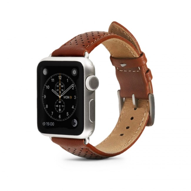 Monowear Brown Perforated Leather Band pre Apple Watch - Matte Silver 42 mm