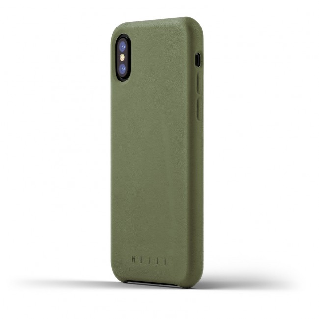 MUJJO Full Leather Case pre iPhone X a XS - púzdro olivovozelené
