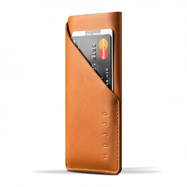 MUJJO Leather Wallet Sleeve pre iPhone X - žltohnedý