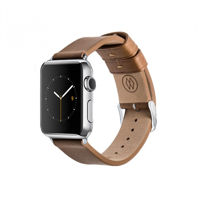 Monowear Brown Leather Band pre Apple Watch - Stainless Steel 38 mm