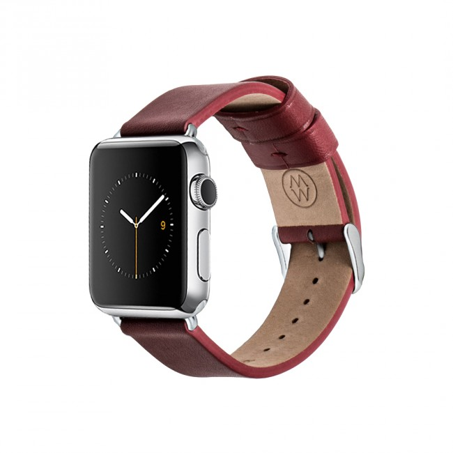 Monowear Red Leather Band pre Apple Watch - Stainless Steel 42 mm