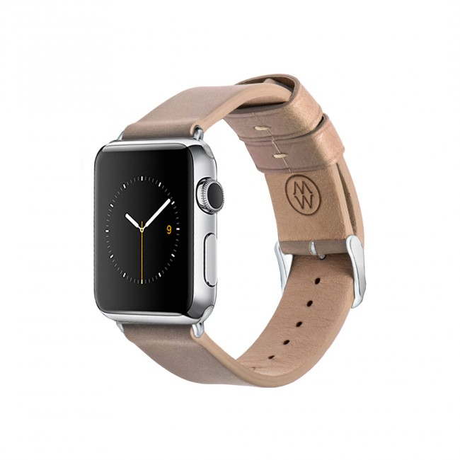Monowear Creme Leather Band pre Apple Watch - Stainless Steel 42 mm