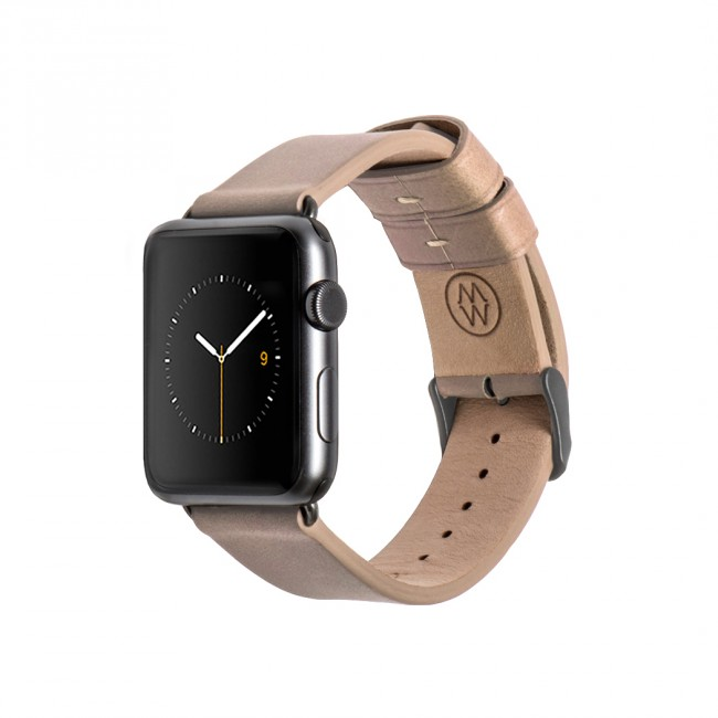 Monowear Creme Leather Band pre Apple Watch - Space Gray 42 mm