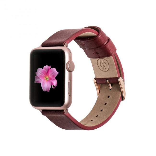 Monowear Red Leather Band pre Apple Watch - Rose Gold Luxury 38 mm