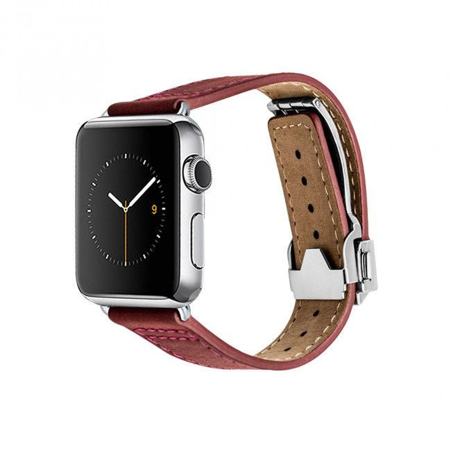 Monowear Red Leather Deployant Band pre Apple Watch - Stainless Steel 42 mm