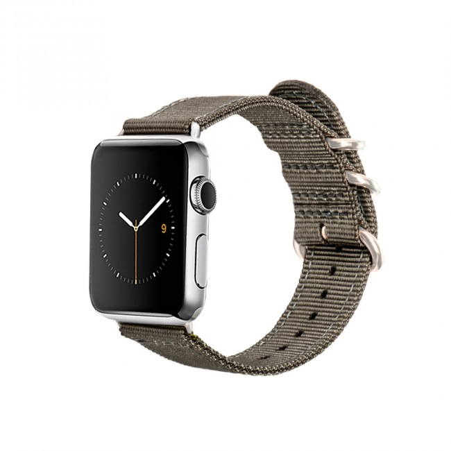 Monowear Gray Nylon Band pre Apple Watch - Silver Matte Elegant 42 mm