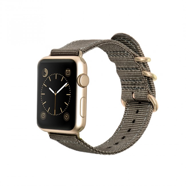 Monowear Gray Nylon Band pre Apple Watch - Gold Luxury 38 mm