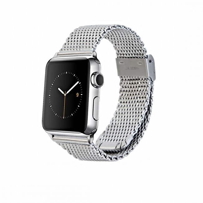 Monowear Silver Mesh Band pre Apple Watch - Silver Polished 42 mm
