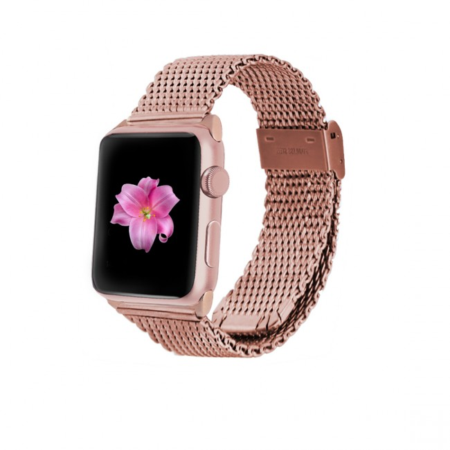 Monowear Rose Gold Mesh Band pre Apple Watch - Rose Gold Elegant 42 mm