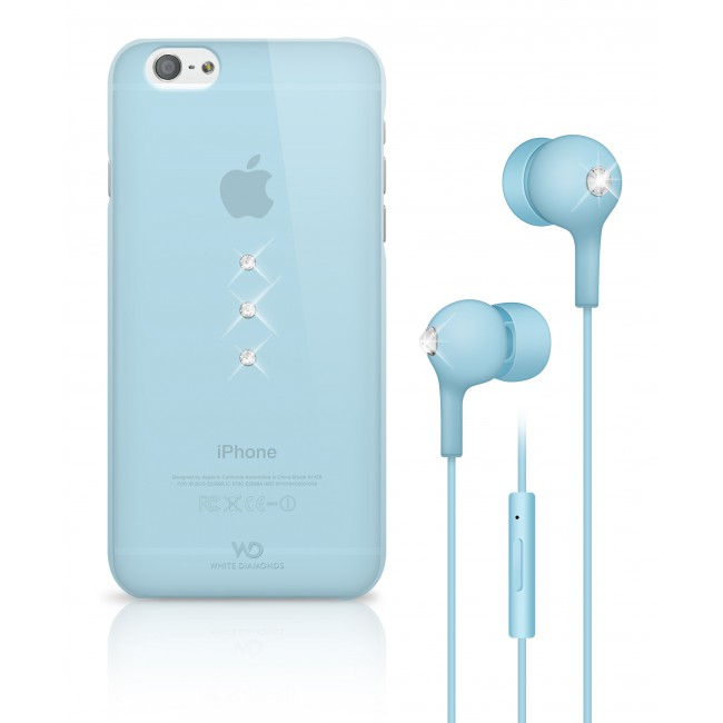 White Diamonds Crystal Earphone bundle pre iPhone 6/6S bledomodré