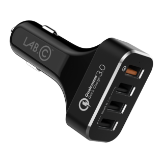 LAB.C 4port Quick Car Charger - auto-nabíjačka čierna