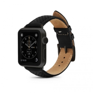 Monowear Black Perforated Leather Band pre Apple Watch - Dark Gray Matte 42 mm