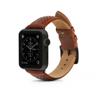 Monowear Brown Perforated Leather Band pre Apple Watch - Dark Gray Matte 42 mm