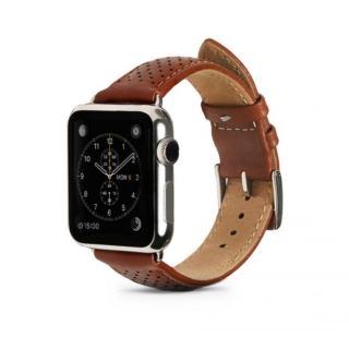 Monowear Brown Perforated Leather Band pre Apple Watch - Silver Polished 42 mm
