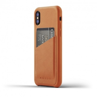 MUJJO Full Leather Wallet Case pre iPhone X - púzdro žltohnedé