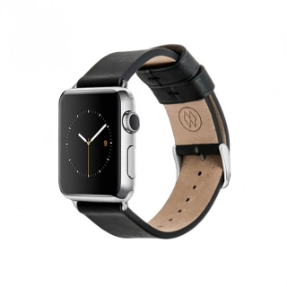 Monowear Black Leather Band pre Apple Watch - nerez ocel 38 mm