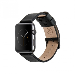 Monowear Black Leather Band pre Apple Watch - Space Gray 42 mm