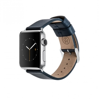 Monowear Navy Leather Band pre Apple Watch - Stainless Steel 42 mm