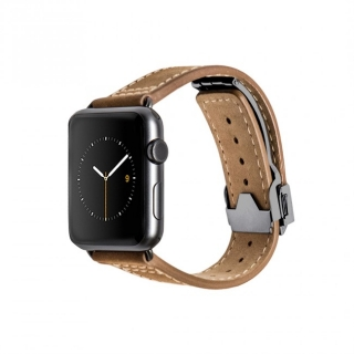 Monowear Brown Leather Deployant Band pre Apple Watch - Space Gray 42 mm