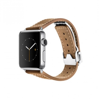 Monowear Brown Leather Deployant Band pre Apple Watch - Stainless Steel 42 mm