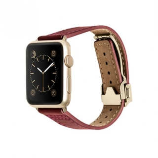 Monowear Red Leather Deployant Band pre Apple Watch - Gold Luxury 38 mm