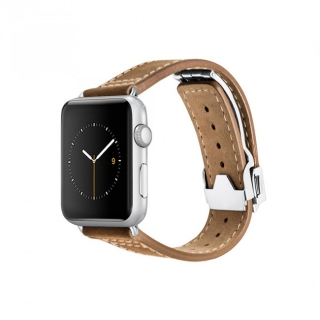 Monowear Brown Leather Deployant Band pre Apple Watch - Silver Matte Elegant